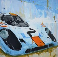 Porsche 917 - Gulf - Winner 24 Hours of Daytona 1971 by Tom Havlasek - Rahmen Car Painting, Painting & Drawing, 24 Hours Of Daytona, Benoit, Automotive Art, Sports Art, Beautiful Paintings, Car Ins, Art Cars