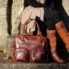 Brown Leather Weekend Holdall Travel Diaper Bag by TheLeatherStore
