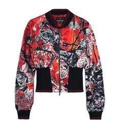 Roberto Cavalli Printed ribbed jersey-trimmed satin bomber jacket