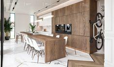 Villas on Behance Kitchen Room Design, Luxury Kitchen Design, Dream Home Design, Home Decor Kitchen, Interior Design Kitchen, Cuisines Design, Küchen Design, Interior Design Living Room, New Homes