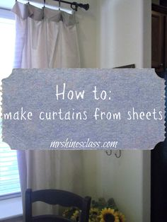 Sewing Curtains diy curtains, home decor, window treatment, french country - Bed sheets make an affordable option for DIY curtains. Hines' Class for the simple tutorial on h ow to turn sheets into curtains. Sheet Curtains, No Sew Curtains, How To Make Curtains, Rod Pocket Curtains, Balcony Curtains, Window Coverings, Window Treatments, In Kindergarten, Sheet Sets