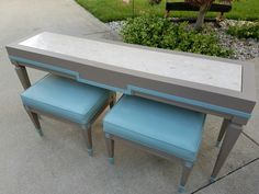 Lido marble top table with stools.  Painted Annie Sloan Coco & Duck Egg Blue with clear wax.  $149