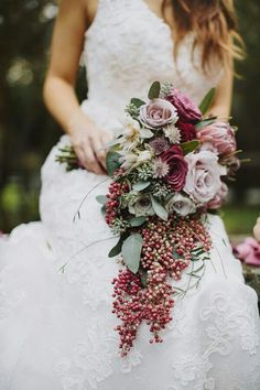 style inspiration for trailing elements in the bridal bouquet if that style is…