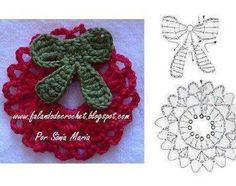 crochet Christmas wreath and bow ornament Crochet Christmas Wreath, Crochet Wreath, Christmas Crochet Patterns, Crochet Ornaments, Crochet Snowflakes, Holiday Crochet, Christmas Bows, Christmas Projects, Christmas Decorations