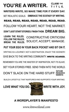 Writers Manifesto by K.M. Weiland, who wrote Dreamlander, one of my fav 2012  reads.