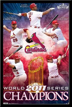 Louis Cardinals World Series Champions Poster Photos of the stars of the 2011 World Series with Trophy St Louis Baseball, St Louis Cardinals Baseball, Stl Cardinals, Baseball Wall, Yadier Molina, 2011 World Series, Cardinals Players, Mlb Teams, St Louis Cardinals