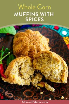 Whole Corn Muffins with Spices (Vegan, Gluten-Free) - Sharon Palmer, The Plant Powered Dietitian Healthy Muffin Recipes, Healthy Muffins, Vegan Recipes, Vegetarian Muffins, Power Muffins, Food Hacks, Food Tips, Corn Muffins, Unprocessed Food