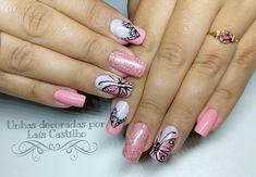 30 Modelos de unhas decoradas com borboletas Manicure E Pedicure, 30, Nail Designs, Nails, Beauty, Ring Finger, Nail Art Flowers, Nailed It, Nail Design