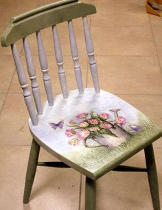 Adorable Little Chair--Decoupage Seat Decoupage Furniture, Funky Furniture, Refurbished Furniture, Repurposed Furniture, Shabby Chic Furniture, Kitchen Furniture, Office Furniture, Furniture Ideas, Hand Painted Chairs