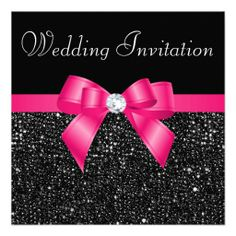 Faux Black Sequins Hot Pink Bow Wedding InvitationThanks zazzle for this post.Elegant custom black and hot pink wedding invitations with a beautiful black glittery printed image sequins pattern, a cute shiny hot pink printed image bow and rib# Black Black And White Wedding Invitations, Pink And White Weddings, Glitter Wedding Invitations, Pink Invitations, Wedding Invitation Design, Modern Invitations, Invites Wedding, Gold Weddings, Invitation Ideas