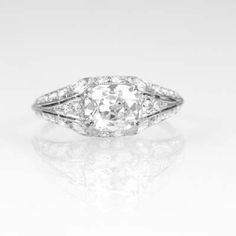 Circa 1911 Antique Diamond Engagement ring retailed by F. Walter Lawrence. Likely manufactured by Gustav Manz, Lawrence's primary source of fine diamond and carved jewelry