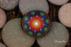 2.8x2.6 inch Hand painted mandala on river rock/mandala stone by Katy