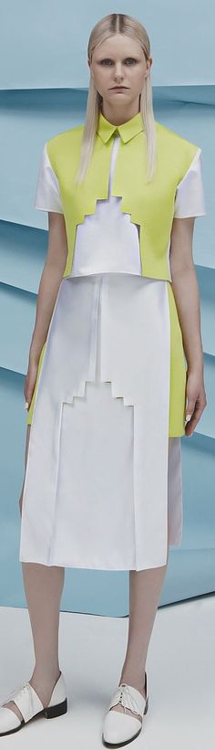 geometric shape are prominent and symmetrical balance Fashion Art, Runway Fashion, High Fashion, Fashion Outfits, Womens Fashion, Fashion Design, Fashion Trends, Fashion Fabric, Haute Couture Style