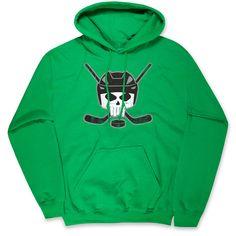 040e7d1a Hockey Hooded Sweatshirt - Hockey Helmet Skull | Green, AXXL, Unisex |  Hockey Hoodies