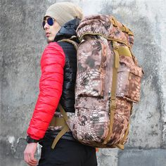Tactical Military Trekking Camping Hiking Rucksack Camouflage Backpack Specification: Brand: IBEG Material: 1000D Military Nylon Capacity: 65L Color: Forest camouflage; DE spot camouflage; Desert pyth