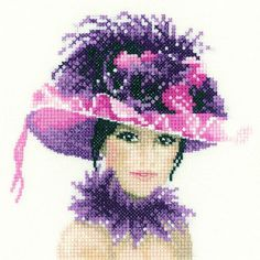 0 point de croix portrait chapeau rose à plumes - cross stitch portrait pink hat with feathers