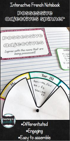 Your students will master French possessive adjectives with this interactive notebook page! It can be used as a simple reference page or study tool. Best of all, this differentiated spinner is easy to assemble, engaging, and fun! Click through to see more! #easyfrenchlanguage