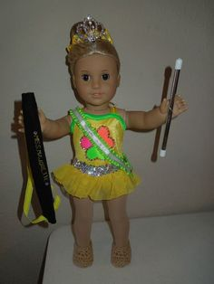 American Girl Doll Baton Twirling Costume Plus Accessories Bitty Baby Clothes, Girl Doll Clothes, Doll Costume, Girl Costumes, Baton Twirling Costumes, Twirling Baton, Ag Dolls, Girl Dolls, American Girl Doll Gymnastics