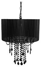 Black Chandelier Lamp One Bulb Shaded Ceiling Light Home Decoration Fixture Swag