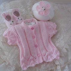 Hand Knitted Baby Cardigan with Headband by PreciousNewbornKnits, £22.00