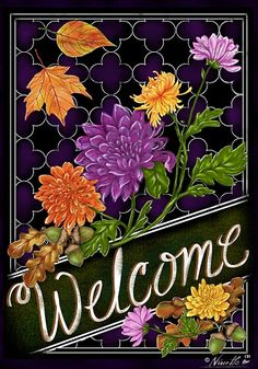 Custom Decor Flag - Welcome Fall Mums Decorative Flag at Garden House Flags at GardenHouseFlags