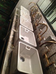 A row of Belfast sinks in restaurant bathroom Barn Bathroom, Bathroom Ideas, Copper Taps, Restaurant Bathroom, Downstairs Cloakroom, Belfast Sink, Sink Design, Kitchen Taps, Sink In