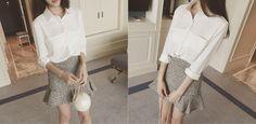 Set: Plain Long-Sleeve Shirt + Ruffle Hem Mini Skirt