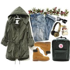 """Timberland 6"""""""" Premium Lace Up Flat Boot by crblackflag on Polyvore - Adventuring clothes"""