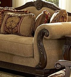 Couch With Wood Trim. This wonderful picture selections about Couch With Wood Trim is available to save. Small Sectional Couch, Leather Couch Sectional, Cool Couches, Sofa Couch, Couch Furniture, Home Decor Furniture, Furniture Styles, Sofa Set, Tuscan Living Rooms