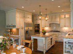 Dream Kitchen ♥  White cabinets, hardwood floor, beige/golden granite