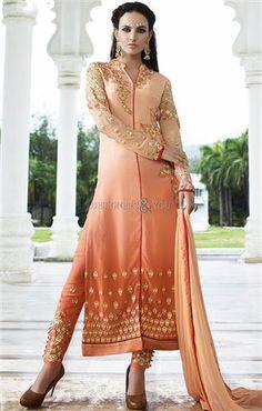 Likeable Orange N Peach Embroidered Georgette Paki Fashion Dress USA Style