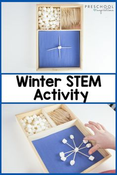 Make marshmallow and toothpick snowflakes to learn about symmetry this winter! This activity is great for all ages but my preschool class especially loves it. It's great for building fine motor skills and early math skills! STEM activities are so fun and full of learning!