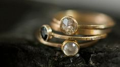 Hammered gold rings.