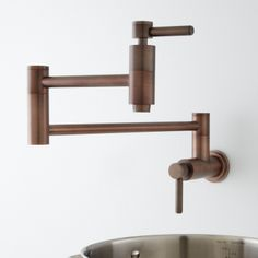 Contemporary Retractable Wall Mount Pot Filler - Oil Rubbed Bronze
