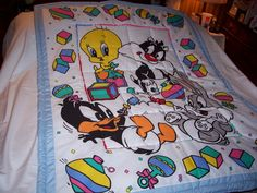Baby 1990's Looney Tunes Boy Cotton Baby Quilt-Newly Made 2015 by quilty61 on Etsy