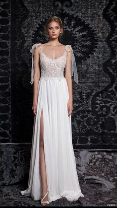 persy bridal fall 2016 sleeveless tie straps scoop neck aline wedding dress (02) mv slit skirt