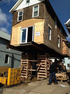 My damaged house lifted Flood Mitigation, Basement Repair, House Lift, Sea Bright, House Repair, Moving House, Studio, Architecture, Random