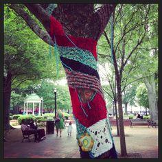Yarn Bomb street art trend hits Marietta Square- Organized by Marietta/Cobb Museum of Art