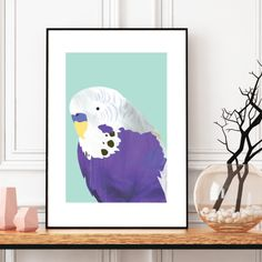 Add a touch of whimsy to any room in the house with this illustrated, abstract violet budgie wall art print. Team it with the other painted budgies in our