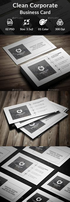 Clean #Corporate #Business #Card - Business Cards Print Templates Download here:  https://graphicriver.net/item/clean-corporate-business-card/20366236?ref=alena994
