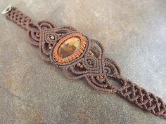 Macrame Bracelet  Bronzite With Brown Thread Hot by neferknots
