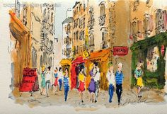 Paris, les amoureux à la rue de la Huchette, Lithograph, Signed and numbered in pencil, by the painter, URBAIN, HUCHET