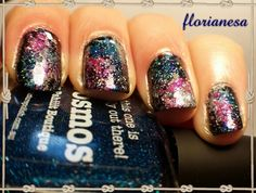 #galaxynails with Essence (Black is back), Picture Polish (Cosmos), A-England (Fonteyn), Essence (Aquatix 01 Mermaid's secret) & OPI (Servin'Up Sparkle)