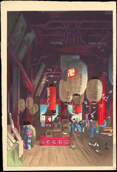"""Interior of Asakusa Kannon Temple"" by Narazaki, Eisho"