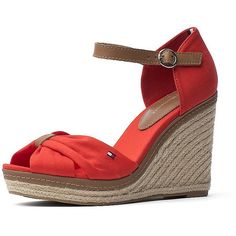 Tommy Hilfiger Peep Toe Espadrille Wedge (25.715 HUF) ❤ liked on Polyvore featuring shoes, sandals, tommy hilfiger sandals, high heel platform sandals, platform wedge sandals, platform sandals and espadrille wedge sandals