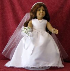 American Girl Doll Wedding Gown and Veil by MeAndMySisterInLaw, $65.00