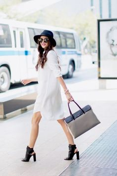 White Mini Shirt Dress # Peonies Fall Trends Of Summer/Pre Fall Apparel Dress Mini Shirt Dresses Shirt Dress White Shirt Dress Clothing Shirt Dress 2014 Shirt Dress Apparel Shirt Dress How To Style Looks Street Style, Nyfw Street Style, Shirt Over Dress, Casual Chique, Classy Casual, Spring Shirts, Look Fashion, Glamour, Spring Outfits
