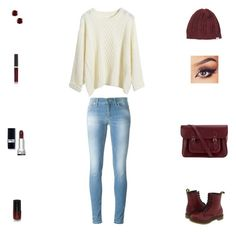 """Contest: Burgundy & White Winter Outfit"" by billsacred ❤ liked on Polyvore featuring Dondup, RVCA, The Cambridge Satchel Company, Dr. Martens and Becca"