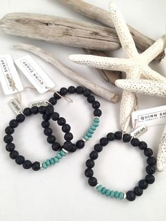 Lava diffuser bracelet. Just rub essential oil into the lava bead.                                                                                                                                                                                 More