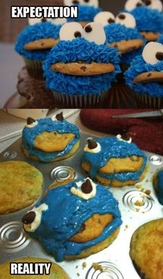 Nailed It - How To Bake Cookie Monster Cupcakes - Cooking Fail ---- best hilarious jokes funny pictures walmart humor fail Cooking Fails, Food Fails, Cooking 101, Fb Fail, Epic Fail, Doug Funnie, Cookie Monster Cupcakes, Alien Cupcakes, Frog Cupcakes